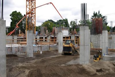 Construction Worksite with equipment and concrete columns